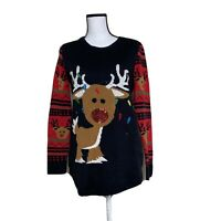 No Boundaries size L(11-13) reindeer lightup crewneck christmas sweater Women