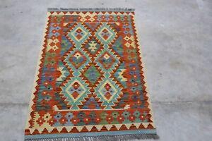Afghan Kundoz Genuine Handmade Tribal Nomad Multi Colour Wool Kilim Rug 82x124cm