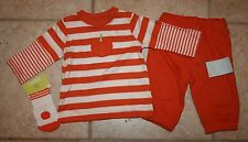 NWT Gymboree Boys 3 - 6 Months Pumpkin Shirt and Pants with Sock Outfit Set