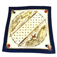 Auth Gucci Large Format Hunting Silk Scarf Animal Navy 03GC067