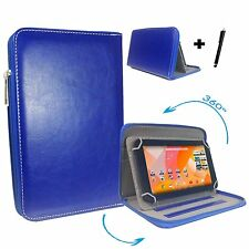 "10 inch Case Cover Book For Bush Spira B1 Tablet - 10"" Zipper Blue"