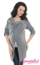 Purpless Maternity 2 in 1 Pregnancy and Nursing Sweater Cardigan Coat B9005 Dark Gray 12/14