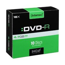 INTENSO DVD-R RECORDABLE DISCS 10 PACK SLIM JEWEL CASE /  16X SPEED / 4.7GB DATA