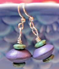 EARRINGS Artisan USA Kirsten Handmade Czech Turquoise Raku Purple Wood Silver Hk