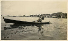 Vintage old photo-snapshot-canoe woman boat 1930-kayak woman boat