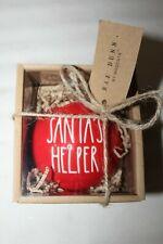 Rae Dunn Santa's Helper Red Christmas Ornament Gift Box NWT