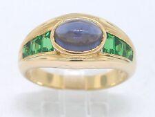 Tsavorit Ring 750 Gelbgold 18Kt Gold mit feinstem Iolit