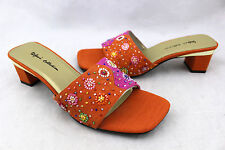 STEFANI COLLECTION Holly Orange Pink Beaded Slides Sandals Heel Shoes 10 New