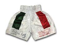 FLOYD MAYWEATHER JR SIGNED VS. DE LA HOYA BOXING TRUNKS #D/50 BAS COA W/ STAT