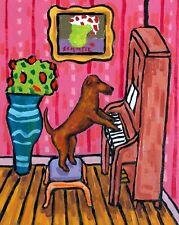 irish terrier dog piano 8.5x11   artist prints animals impressionism