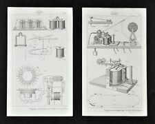 1859 Didot Nautical Prints x2 Telegraph Electromagnetic Communication Morse Code