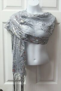 Silver Gray Dressy Sequin Sparkle Scarf Shawl Wrap Wedding Bridal Party Formal