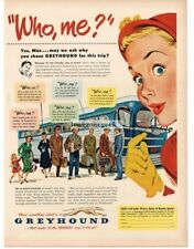 1951 Greyhound Bus Who Me people boarding Bus art by Joseph Slotkin Vtg Print Ad