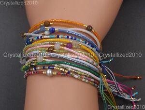 Natural Gemstone Crystal Handmade MIYUKI Opaque Beads Adjustable Bracelet Gold