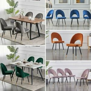 1/2/4/6 Dining Chairs Set Velvet Padded Seat Metal Leg Kitchen Chair Home Office
