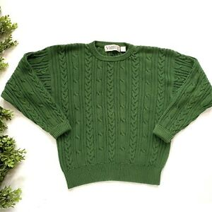 Vintage Varsity by Savile Row Sweater Crew neck Cable Knit Fisherman Mens Large