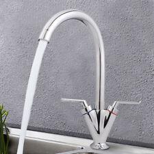 Twin Lever Swivel Spout Kitchen Sink Basin Mixer Tap  Chrome Brass Faucet