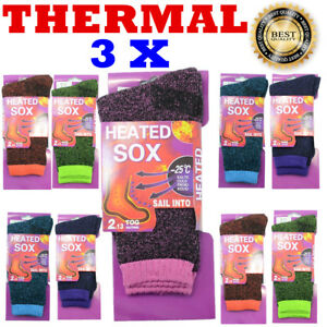 3 Pairs Women Heated Winter Warm Thermal Boots Heavy Duty Sox Socks Size 5-11