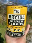 Scarce+Brytol+Super+Service+Motor+Oil+Quart+Can+Penn+State+Oil+Co.+Empty+PA