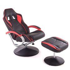 bureau Chaise Jeu Chaise noir avec repose-pieds en simili-cuir Racing Design