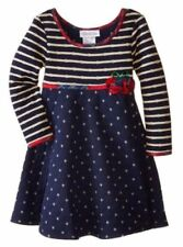 Bonnie Jean Girls Quilt Knit Navy Holiday Christmas Dress Size 4 5 6 New