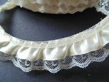Cream Satin  Ruffled Lace Trim   Crafts/Costume/Sewing/Corsetry