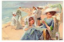 POSTCARD GERMAN MOTHER GIVES CHILD DR. HOMMEL'S TONIC AT BEACH 1916