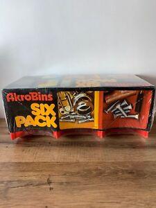 NIP!!! Six Pack Plastic Storage Stacking Akrobins Craft Hardware Red 08-210