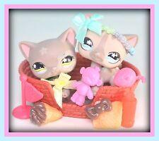 ❤️Littlest Pet Shop LPS Sitting Cat #467 & Shorthair Cat #468 Accessories LOT❤️