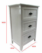 Small Wooden White Gloss 3 Drawer Bedside Table / Cabinet Storage Cupboard