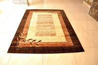 Wreath Leaf Brown Beige Area Rug Turkish Style Carpet Runner Mat All Sizes