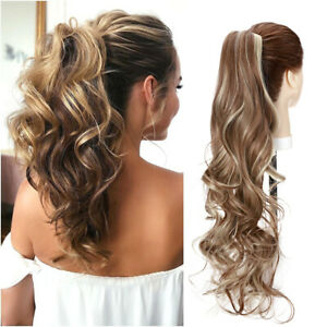 Thick Claw Ponytails Hair Extensions Hairpieces Clip In Pony Tails Ash Blonde US