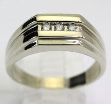 Hombre diamante anillo de boda 14K oro blanco F-G brillante redondo canal