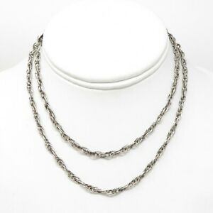 """NYJEWEL Mexico 925 Sterling Silver 3mm Long Chain Necklace 28"""" 17.7g"""