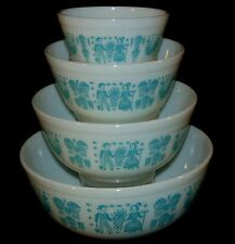 Pyrex BUTTERPRINT TURQUOISE* 4 PC ROUND MIXING BOWL SET *HARD TO FIND* #2*