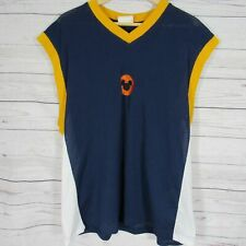 Mickey Mouse Basketball Jersey Mens L Navy Yellow White Mesh Disney Vtg