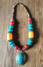 Very Large Ethnic Nepalese Bead Necklace with Pendant