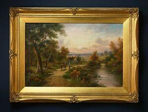 Large c.1900 English Sunset Landscape Oil Painting, Signed | Antique Gilt Frame