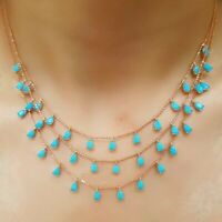 925 STERLING SILVER HANDMADE JEWELRY TURQUOISE TRIPLE NECKLACE