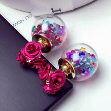Fashion Women 3D Rose Flower Crystal Glass Balls Double Sides Ear Stud Earrings