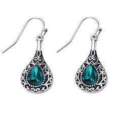 Silver Vintage Style Emerald Earrings