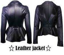 Womens BIKER JACKET Crop FAUX LEATHER Ladies ZIP Coat Size 6 8 10 12 16 18 20Ljk
