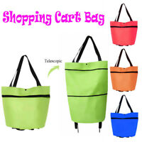 Foldable Shopping Cart Bag Trolley Tote with Wheels Reusable Portable Lightweigt