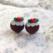 Earrings Christmas pudding studs Xmas party handmade cute festive fimo