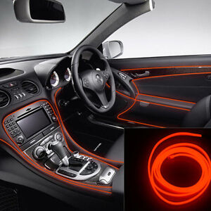6.5Ft Car Interior Atmosphere Decor Red Cold light lamp Neon Lamp Strip EL Wire