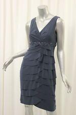 ALEX EVENINGS Charcoal Gray Jersey Layered Dress 8P