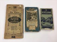 Three Vintage Road Maps British Isles 1930's