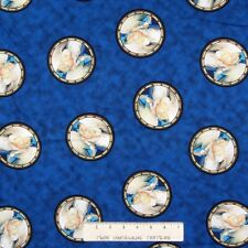 Christmas Fabric - Religious Angel Medallion on Blue - QT YARD