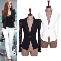 Women's Slim Suit Blazer Coat Lace Crochet Jacket Cotton Blends Blouse Outwear