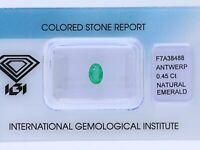 natürlicher 0,45 Karat Smaragd IGI Expertise